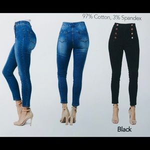 American Bazi Jeans - High Rise Button Up Skinny Jeans